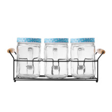 NAKAMI Glass Canister 800ML 3pcs Set NK-GC03800-DB