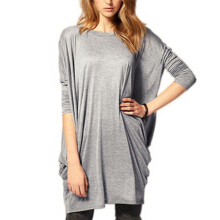 Womens Batwing Sleeve Casual Loose  Blouse - Grey