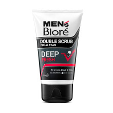 MEN'S BIORE Facial Foam Double Scrub Black White Deep Fresh 100 gr