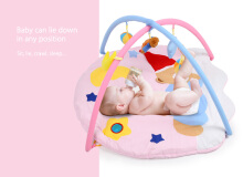 Baby Soft Play Mat Sleeping Bear Gym Blanket with Frame Rattle Crawling Toy