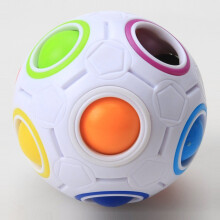BESSKY Stress Reliever Rainbow Magic Ball Plastic Cube Twist Puzzle Toys - White