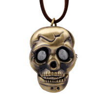 Vintage Neutral Bronze Alloy Skull Pocket Watch Gold