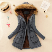 BESSKY Womens Warm Long Coat Fur Collar Hooded Jacket Slim Winter Parka Outwear Coats_
