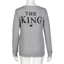 BESSKY Men Grey KING Letter Print Long Sleeve T-Shirt Top Blouse Couple Shirt_