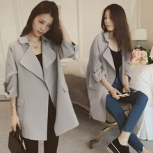 Women leisure fashion thin fabric loose lapel pocket three quarter sleeve pure color trench coat