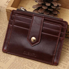 BESSKY Mini Leather Zipper Credit Card ID Holder Money Clip Wallet_