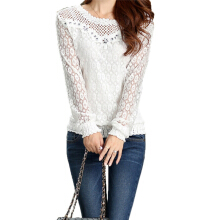 ZANZEA Women's Fashion Korean Chiffon Slim Lace T-Shirt - White