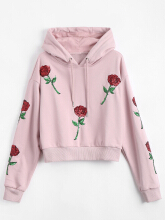 Drawstring Sequins Floral Patched Hoodie
