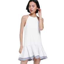 LOVE, BONITO Quentin Contrast Ruffle Hem Dress - White