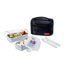 LOCK & LOCK Lunch Box 2P Set W/ Spoon, Fork, & Bag HPL762DB - Black