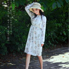 Women pure and fresh retro falbala printing long  sleeve chiffon dress
