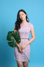 MOBILE POWER Ladies Floral Dress - Purple Z7069