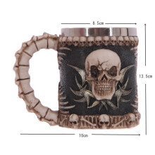 400ml Stainless Steel 3D Skull Spine Tankard Horror Decor Cup Coffee Mug Halloween Party Bar Decor