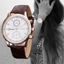 BESSKY Womens Retro Design Leather Band Analog Alloy Quartz Wrist Watch -