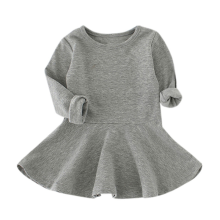 BESSKY Baby Girls Candy Color Long Sleeve Solid Princess Casual Toddler Kids Dress_