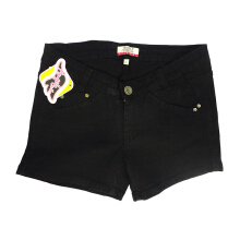 MOBILE POWER Ladies Basic Color Short Pants Denim - Black H5530