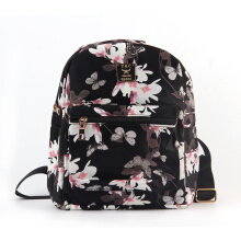 Women Floral Printed PU Leather School Bookbag Travel Shoulders Bag Backpack