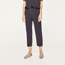 ZARA WOMEN Striped Trousers - Black