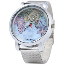 JUBAOLI 1096 Women Quart Watch Map Decoration Big Round Dial Steel Net Band