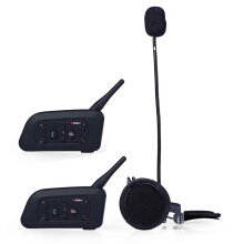 2pcs V6 - 1200M Motorcycle Helmet Bluetooth V3.0 Intercom Multi 6 Riders Interphone Headsets Kits for Motorcyclist Skiers 2PCS
