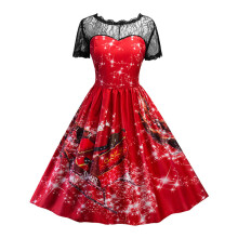 BESSKY Women Swing Dress Christmas Print Lace Yoke Short Sleeve Evening Party Dress_