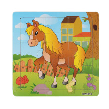 BESSKY Wooden Horse Jigsaw Toys For Kids Education And Learning Puzzles Toys - Yellow