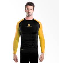 Tiento Baselayer Manset Rashguard Compression Long Sleeve Black Yellow