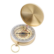 [Kingstore]Brass Pocket Watch Style Outdoor Camping Hiking Compass Navigation Keychain
