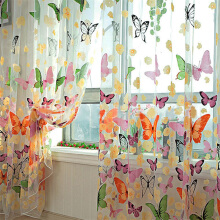 Romantic Butterfly Transparent Curtains Tulle 1x2m for Casement And Door