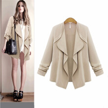 BESSKY Women Autumn Spring Solid Long Sleeve Loose Plus Coat Cardigan-