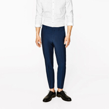 ZARA MAN Ink Blue Mohair Suit Trousers - Navy