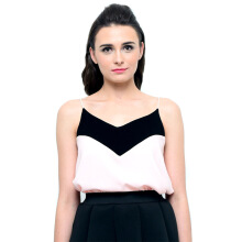 LOOKBOUTIQUESTORE Two Tone Tank - Black/Pink