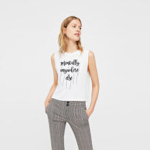 MANGO Embroidered Message T-Shirt - White