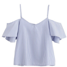 BESSKY  Women Summer Pinstripe Blouse Cold Shoulder Top _