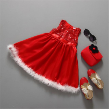 BESSKY Baby Girls Kids Christmas Party Red Paillette Tutu Dresses Xmas Gift_