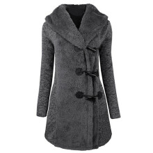 BESSKY Women Fashion Winter Plus Thick Warm Buttons Coat Overcoat Parka Hoodie Outwear _