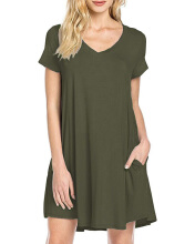 Gamiss Women's Casual Plain Simple Pocket T-shirt Loose Dress