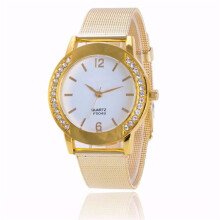 BESSKY Fashion Women Crystal Golden Stainless Steel Analog Quartz Wrist Watch- Gold