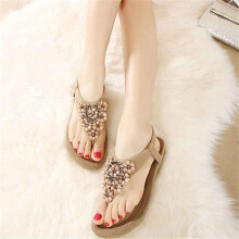 BESSKY Women's Fashion Sweet Beaded Clip Toe Flats Bohemian Herringbone Sandals _