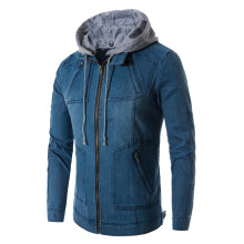 BESSKY Men Fashion Long Sleeve Pockets Zipper Jeans Denim Hooded Coat Jacket_