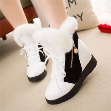 BESSKY Shoes Women Soft Snow Boots Round Toe Flat Winter Fur Ankle Boots Shoes _