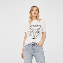 MANGO Printed Cotton T-shirt - White
