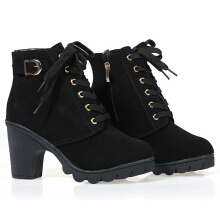 New Vintage Women Platform High Heel Single Shoes Motorcycle Martin Ankle Boots