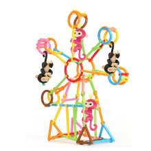 BESSKY (80pc) Building Create Playground Assorted Enginnering DIY House For Baby Monkey_ Multicolor