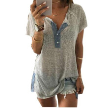 BESSKY Women Loose Casual Button Blouse T Shirt Tank Tops_