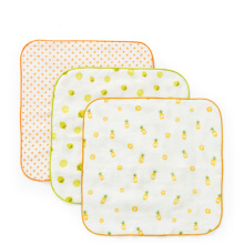 PurCotton Gift Box Baby Gauze Handkerchief25x25cm 3piece/box Lime+Orange Star+Pineapple