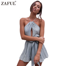 Zaful Sexy Backless Jumpsuit Romper Women Halter Neck Sleeveless Backless