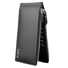 Hot Sell  Ultra-large Capacity Double Zipper Men Wallets,Ultra-thin Leather Wallets For Men