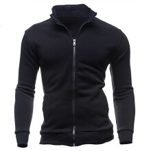 Men Casual Sport Solid Color Cotton Jacket Outerwear