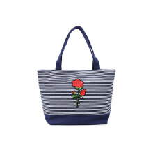 HUER Sheila Stripes Patches Small Tote Bag - Navy
